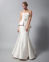 randi rahm satin strapless trumpet wedding dress fall 2018