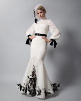 randi rahm black and white trumpet wedding dress with belt fall 2018