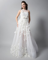 randi rahm sleeveless high neck sheath wedding dress fall 2018