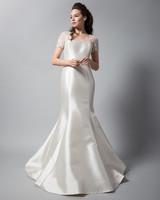 randi rahm satin trumpet wedding dress with short sleeves fall 2018