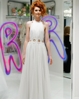randi rahm fall 2019 halter sheath dress with cutouts