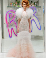 randi rahm fall 2019 v-neck pink and white tier mermaid dress