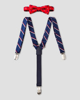 red bowtie and suspenders