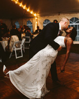 rivka aaron wedding couple first dance dip and kiss