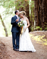 Bride in Strapless Lace Wedding Dress
