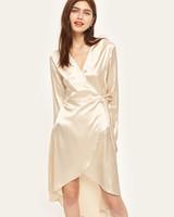 v-neck white long sleeve silk gown