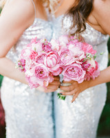Silver Sequinned Bridesmaids' Dresses