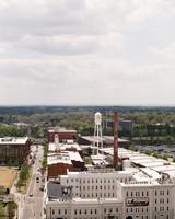 wedding city view industrial buildings