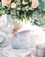 Geode wedding table numbers with white lettering