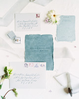 deckled edge teal vintage invite