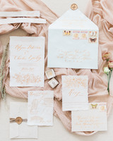 white vintage invite with blush calligraphy