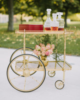 wedding bar cart with large wheels