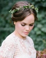 wedding wreath crown worn by bride