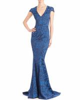 Blue Floral Print Jacquard Gown