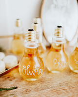 alcohol escort cards champagne-filled lightbulbs