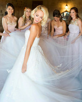 Anna Camp's Wedding Dress and Bridal Party Portrait