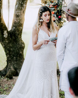 bride and groom exchanged vows during wedding ceremony