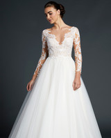 blue willow wedding dress long sleeves illusion v-neck ball gown