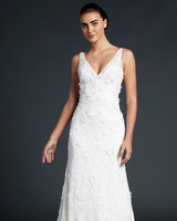 blue willow wedding dress v-neck sheath floral applique