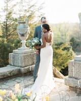 wedding bride groom pose outdoor on stone platform