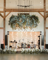 large hanging greenery display over dance floor