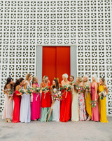 chic bridesmaids various color gowns