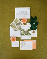 green and peach invitation
