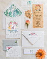 Bright and playful wedding invitations with floral details and illustrated fox