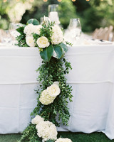 head table cascading flowers