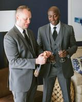 henery michael wedding ceremony couple champagne