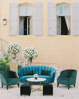 janet patrick wedding lounge with blue couch