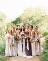 kelsey jacob wedding bridesmaids in rustic purple hue dresses