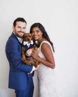 california indian jewish wedding couple dog portrait