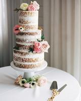 naked wedding cake floral motif roses peonies anemones