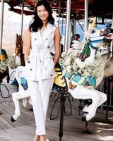 lela rose wedding dress bridal market spring 2020 sleeveless tie front vest top slim suit pants
