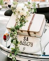 lisa greg italy wedding car convertable flowers