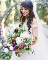 molly josh wedding bride holding bouquet