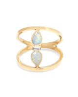 opal and diamond open bar engagement ring