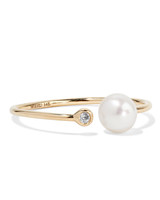 Mizuki 14-Karat Gold, Pearl, and Diamond Ring