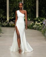 pronovias wedding dress spring 2019 one shoulder sheath