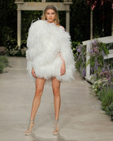 pronovias wedding dress spring 2019 short feathers