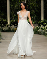 pronovias wedding dress spring 2019 cap sleeve v-neck lace