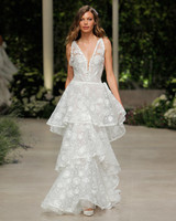 pronovias wedding dress spring 2019 tiered lace dress