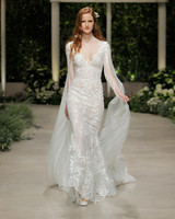 pronovias wedding dress spring 2019 embroidered v-neck
