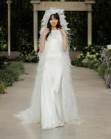 pronovias wedding dress spring 2019 feather veil sheath