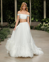 pronovias wedding dress spring 2019 off the shoulder separates