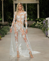 pronovias wedding dress spring 2019 sheer embroidered long sleeve