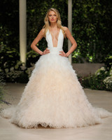 pronovias wedding dress spring 2019 squared neckline ruffled peach ombre