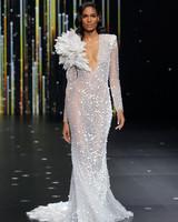 pronovias sheer long sleeve plunging neckline wedding dress with sparkle embellishments spring 2020