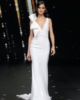 pronovias sleeveless sheath wedding dress with bow on shoulder spring 2020